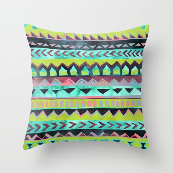 PATTERN {Tribal Stripe - Green} Throw Pillow
