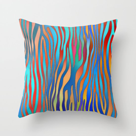 Colored Zebra Pattern Throw Pillow