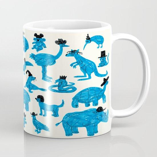 Blue Animals Black Hats Mug