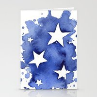 Stars Abstract Blue Wate… Stationery Cards