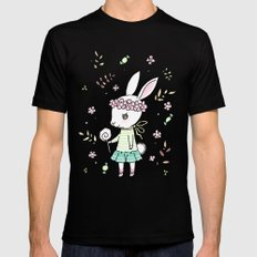 Summer Bunny Black SMALL Mens Fitted Tee