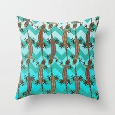gecko chevron Throw Pillow