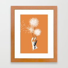 Bunny and Dandelion Bouquet Framed Art Print