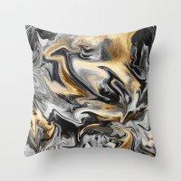Gold Veins Throw Pillow