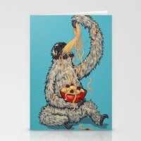 Three Toed Sloth Eating Spaghetti From a Bowl Stationery Cards