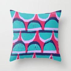 Pink & Blue Semi-circle pattern lino and digital print Throw Pillow