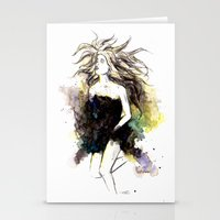 Watercolor Girl Stationery Cards