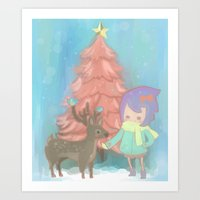 The deer with me. Art Print