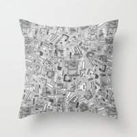 Power Tools Black White Throw Pillow