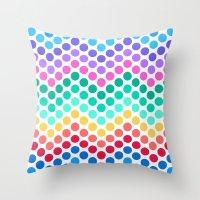 Dot Chevron: Rainbow Throw Pillow