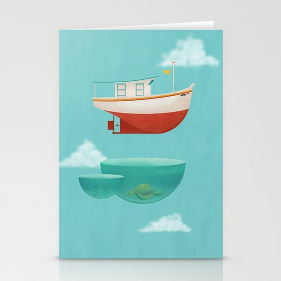 Floating Boat Stationery Card