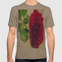 Red Rose Mens Fitted Tee Tri-Coffee SMALL