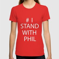 Stand With Phil Womens Fitted Tee Red SMALL