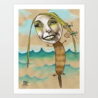 Platypus Girl With Peopl… Art Print