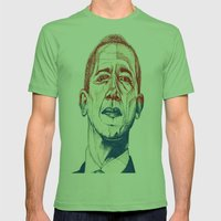 Red, White And Obama Mens Fitted Tee Grass SMALL