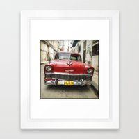 Vintage Red American Car on the Streets of Havana. Framed Art Print