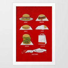 Seven Deadly Hamburgers Art Print