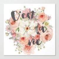 c'est la vie watercolor flowers Canvas Print