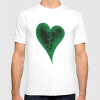 Green Heart Mens Fitted Tee White SMALL