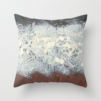 Pollock Rothko Inspired Black White Red Abstract Throw Pillow