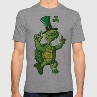 Saint Patrick's Day Green Turtle Mens Fitted Tee Athletic Grey SMALL