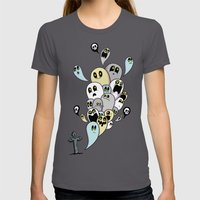 Spooky Ghosts Womens Fitted Tee Asphalt SMALL