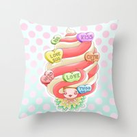 Doll faced valentines candy heart ice cream swirl Throw Pillow