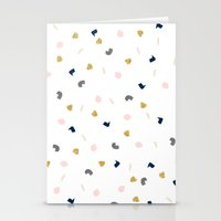 Modern pastel pink navy blue gold glitter confetti Stationery Cards
