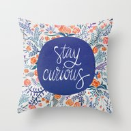 Stay Curious – Navy & … Throw Pillow