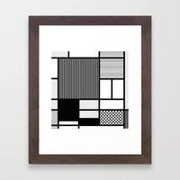 Composition With Black, Dots, Stripes & Black Framed Art Print