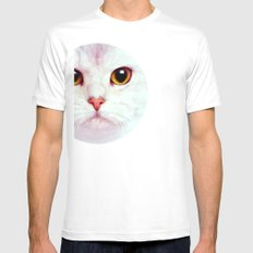 Geometric White Cat Mens Fitted Tee SMALL White