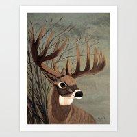 Buck with big racks  Art Print