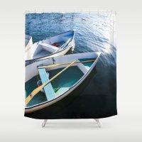 Winter Harbor Dory - Mai… Shower Curtain