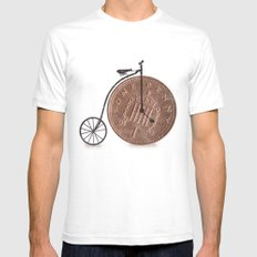Penny Farthing White SMALL Mens Fitted Tee