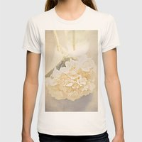 White Hydrangea Womens Fitted Tee Natural SMALL