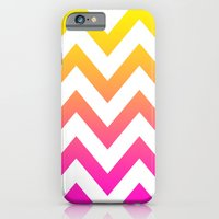 iPhone & iPod Case featuring PINK & YELLOW CHEVRON FADE by natalie sales