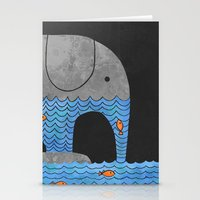 fish Stationery Cards featuring Thirsty Elephant  by Terry Fan