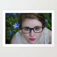 Bluebonnets and Pink Lipstick.  Art Print