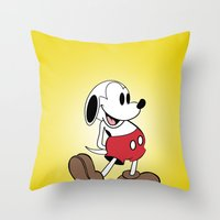 Mickey X Snoopy Throw Pillow
