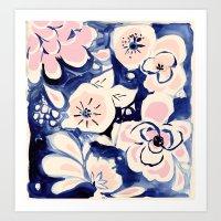 Midnight Moonflower Harmony Art Print