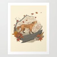 rabbit Art Prints featuring Fox and rabbit by Laura Graves