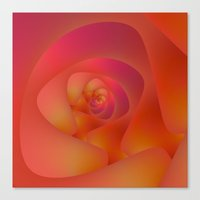 Spiral Labyrinth in Pink and Orange Canvas Print