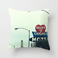 Heart 'O' Chicago Motel (Day) ~ vintage neon sign Throw Pillow