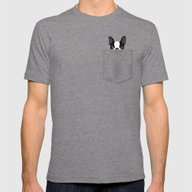 Pocket Boston Terrier Mens Fitted Tee Tri-Grey SMALL