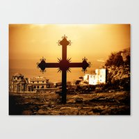Cross And Church Near St… Canvas Print