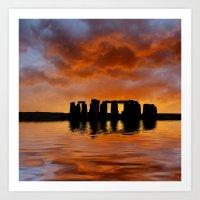 Stonehenge Sunrise, Wilt… Art Print