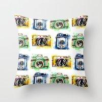 Vintage Cameras Throw Pillow