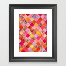 Hot Pink, Gold, Tangerine & Taupe Decorative Moroccan Tile Pattern Framed Art Print
