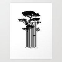 Barcode Trees Illustrati… Art Print