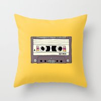 Polka dot cassette tape Throw Pillow